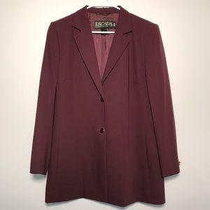 Escada Burgundy New Wool Long Blazer Jacket
